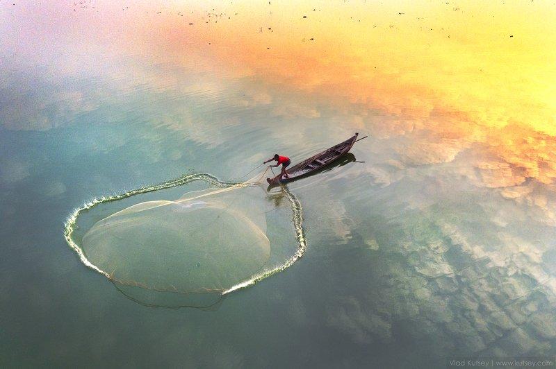 утро, рыбак, рыбалка, озеро, мандалай, сеть Рыбалкаphoto preview