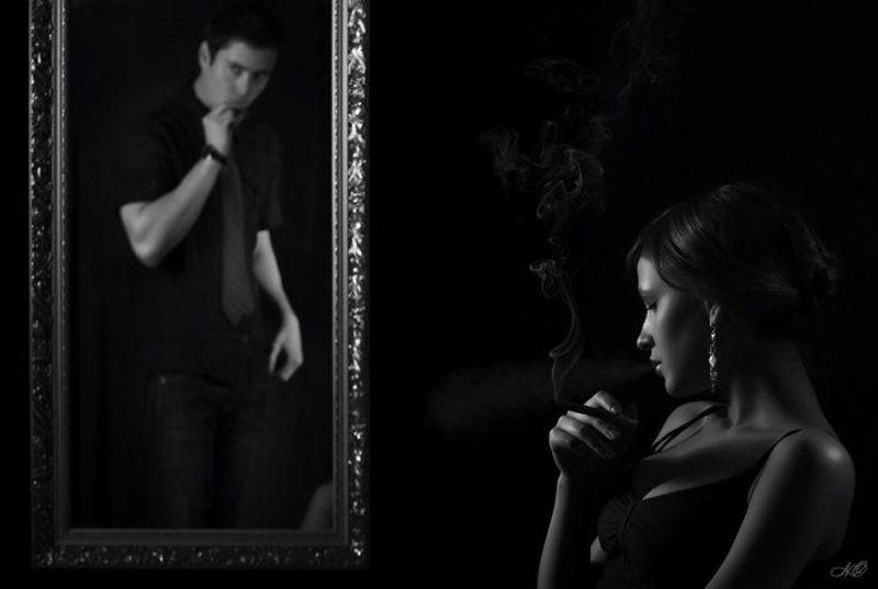девушка, парень, дым, курение, ссора, зеркало Ссораphoto preview