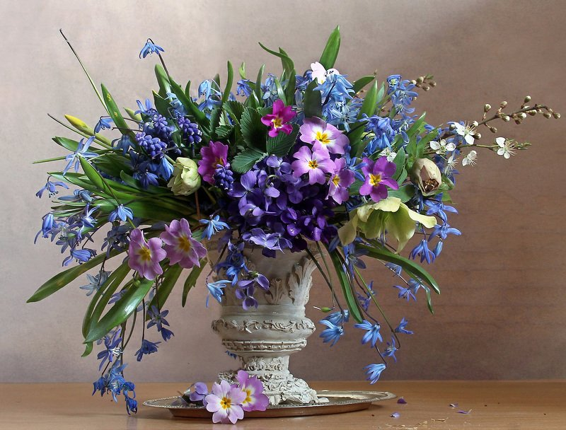 весна, натюрморт, букет цветов, первоцветы, марина филатова Цветов весенних акварельphoto preview