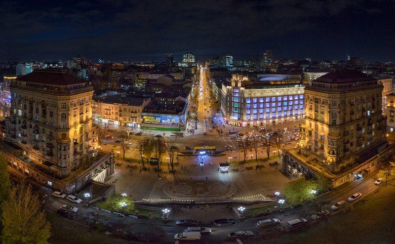 киев, город, уличное освещение, улица, хрещатик, вечер, ночь, дом, Киев вечернийphoto preview