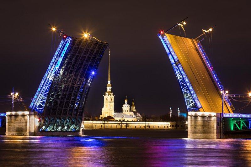 разводной, мост, питер, санкт-петербург, дворцовый, ночь, пейзаж, город. Дворцовый мост.photo preview
