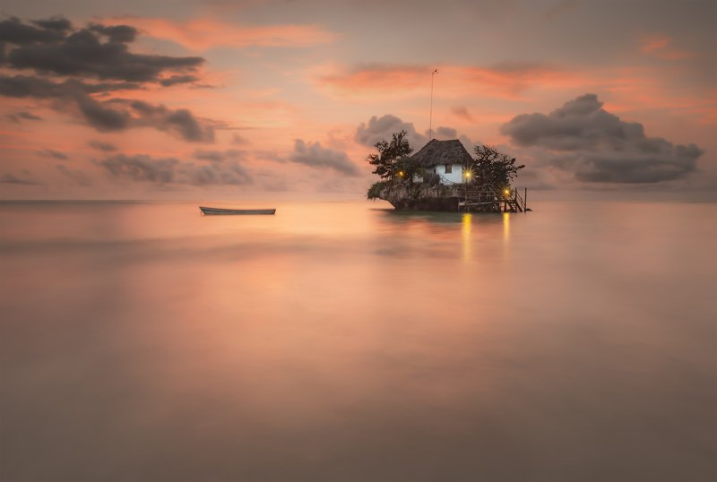 sunrise, the rock, zanzibar, pink, sky, рассвет In the morning..photo preview