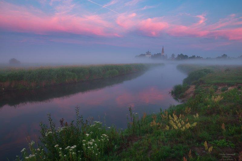 уводь, владимирская область, пейзажи россии, туман, рассвет, реки, река, рассвет, храмы \