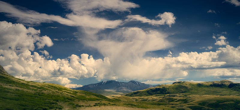пейзаж, панорама, горы, озеро, алтай, сибирь, природа, путешествия, буйлюкем, ущелье, река, небо, облака, природа Кудрявое небо Буйлюкемаphoto preview