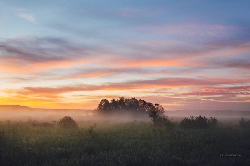 утро рассвет облака остров туман Утренние краскиphoto preview