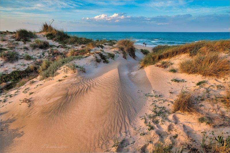 пляж, небо, облака, море, песок, люди Территория любвиphoto preview