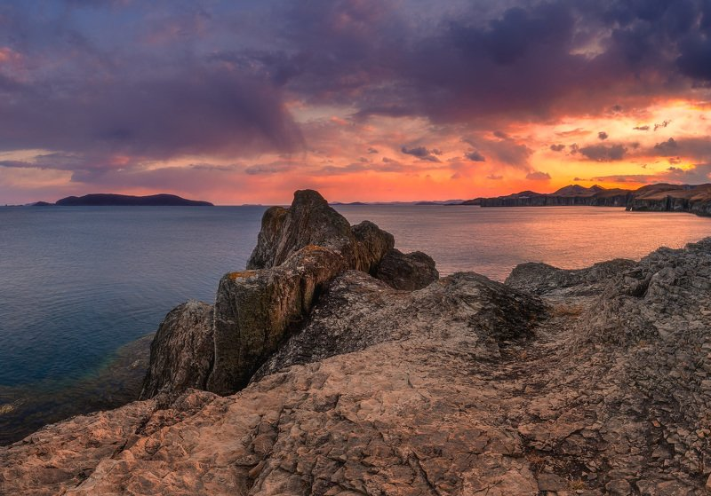 море, скалы, закат, вечер ***photo preview