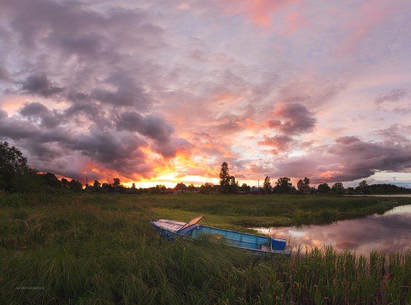 закат лето лодка берег ###photo preview