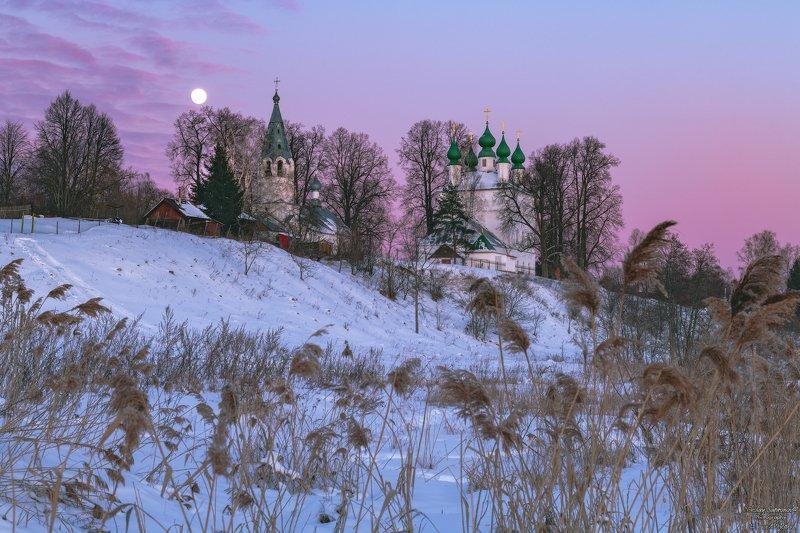 теза, ивановская область, шуйский район, зима, зимний пейзаж, полная луна, закат, россия, центральная россия \