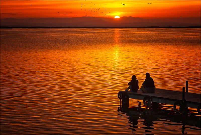 закат, озеро, птицы, горы, небо Время мечтатьphoto preview