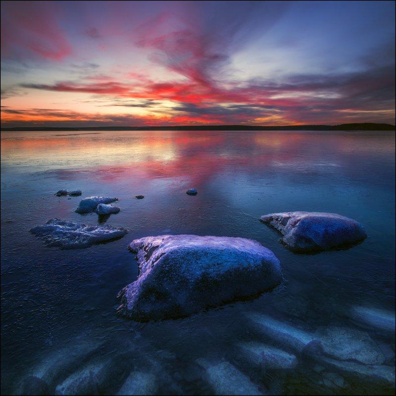 озеро, лед, закат, камни, осень ***photo preview