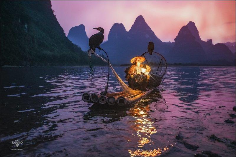 Китай, рыбак, закат, фототур Будни китайского рыбака...photo preview