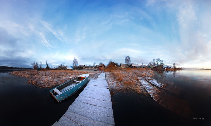 утро рассвет облака берег лодка ###photo preview