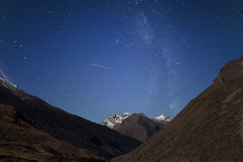 Кавказ, кбр, горы, звезды, млечный путь, снег Чегемское ущельеphoto preview