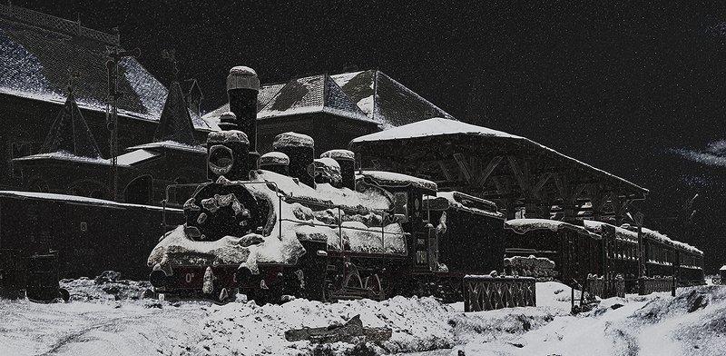 зима ночь паровоз овечка ов снег город Зимняя ночьphoto preview