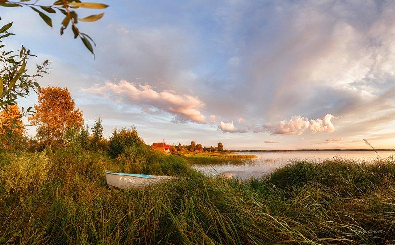 берег вечер лето закат лодка ###photo preview
