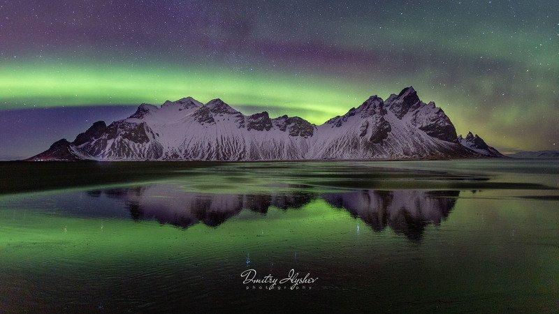 исландия, пейзаж, северное сияние, ночь, вестрахорн, океан, аврора бореалис, природа, фототур, илышев дмитрий, илышев фототур, южная исландия Однажды ночью у Вестрахорнаphoto preview