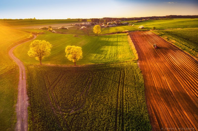 poland, polish, landscape, sunrise, sunset, colours, spring, awesome, amazing, adventure, travel, beautiful, light, fields, tractor, soil Spring worksphoto preview