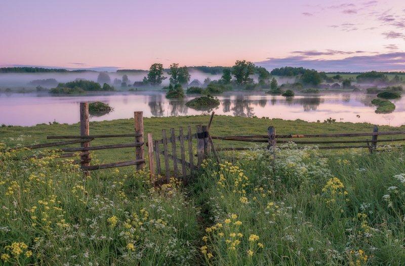 закат туман река Красота летнего заката.photo preview