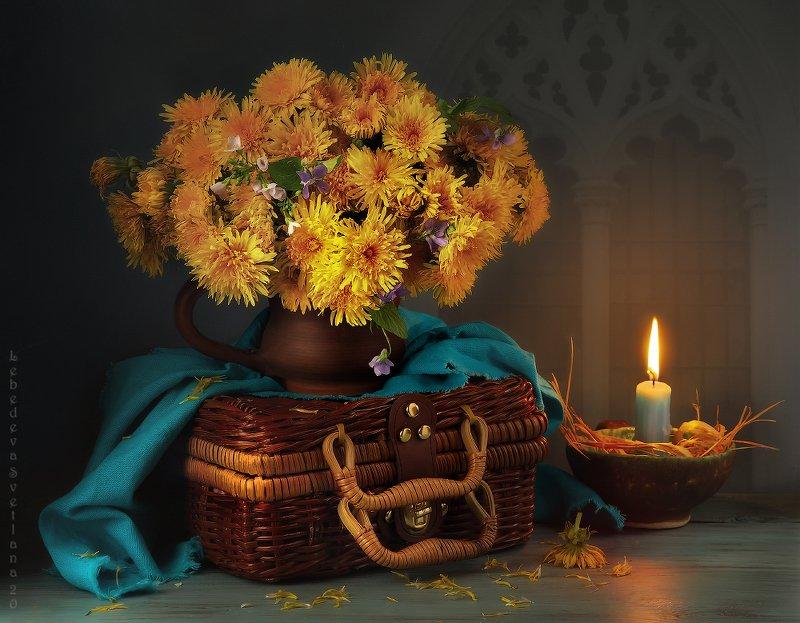 одуванчики,цветы,свеча С одуванчикамиphoto preview
