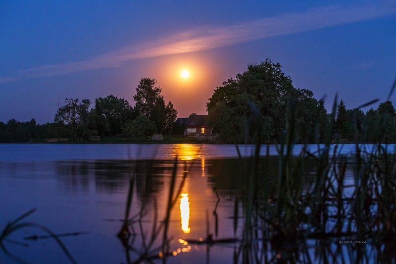 луна вечер лето река отражение дом деревня Домик под Лунойphoto preview