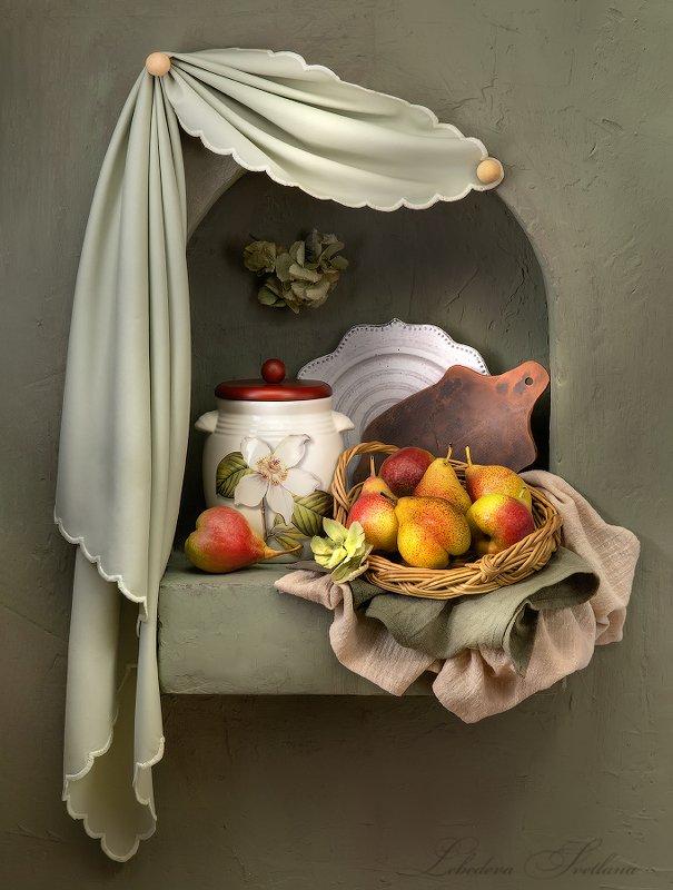 клубника,груши,фрукты,кувшин,ниша натюрморты в нишеphoto preview