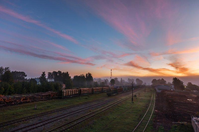 утро рассвет облака пути железнаядорога ###photo preview