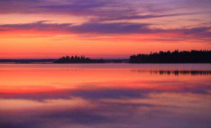 карелия, река, камни, озеро, закат Охта, цвета белых ночейphoto preview