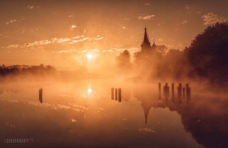 дунилово, теза, река, село, ивановская область, туман, рассвет Дуниловоphoto preview