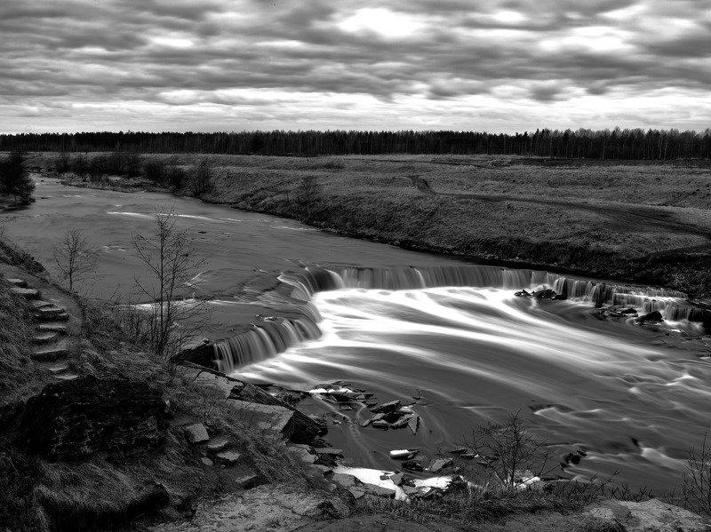 река, водопад, вечер -photo preview