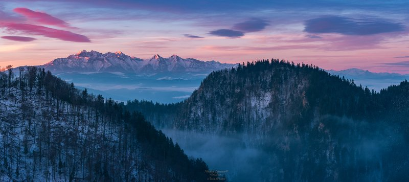 татры, пьенины, пенины, бескиды, пенинский национальный парк, закопане, южная польша, польские горы, горы, высокие татры, белянские татры, зима, рассвет, панорама, tatry,  pieniny, pieniny national park \