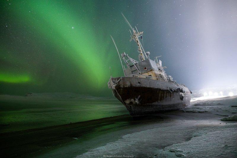 териберка, северное сияние, заполярье, аврора, полярное сияние, ночь, кораблекрушение, звезды Кораблекрушениеphoto preview