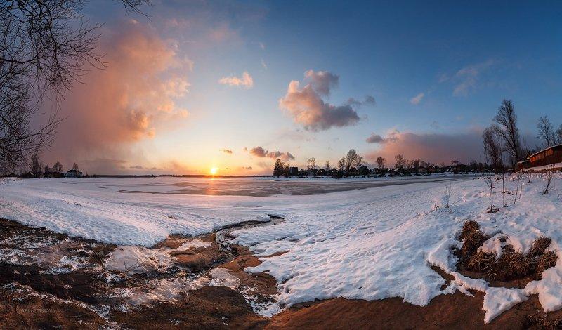 закат солнце зима ручей берег ###photo preview