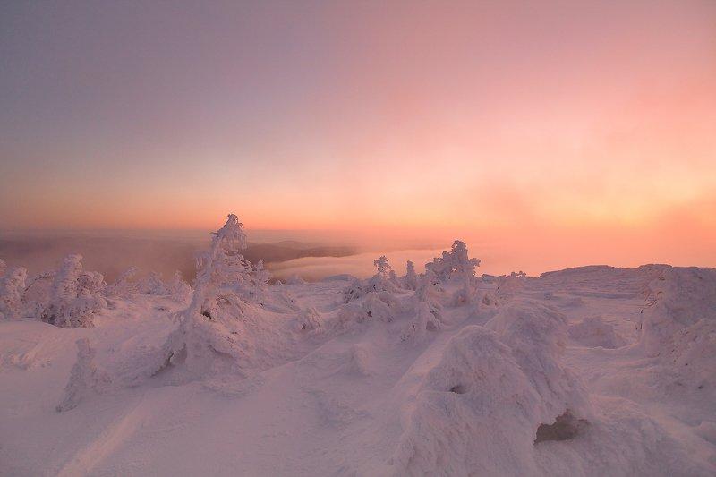 Таганай, восход, утро, снег, Урал, Залтоуст За 10 минут до восходаphoto preview