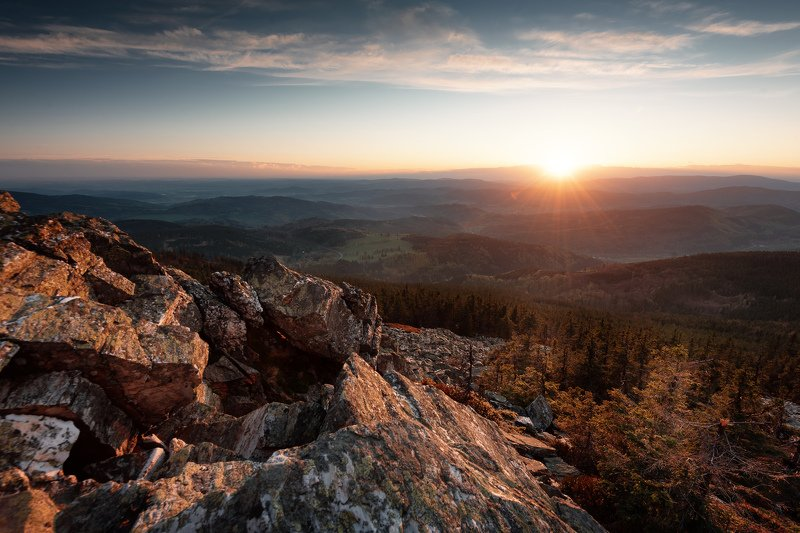 landscape, mountains, sunset, czech republic, forest Sunset on the lost stonesphoto preview