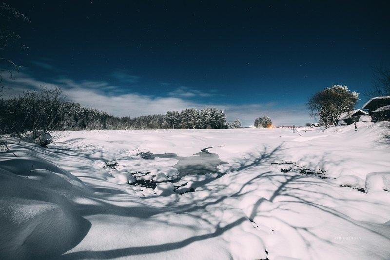 ночь, зима, снег, звезды, свет Ночная прогулкаphoto preview