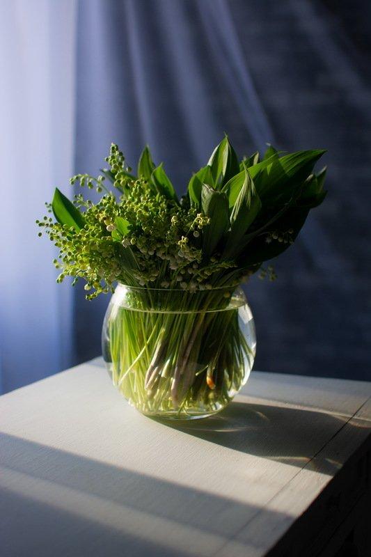 весна, цветы, ландыши, натюрморт, ваза, солнце, вечер Аромат маяphoto preview
