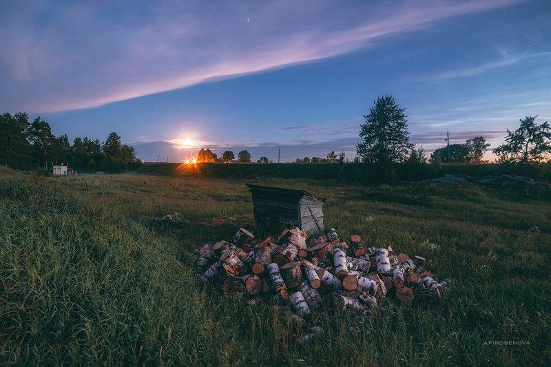 ночь лето облака берег луна Серебристые облакаphoto preview
