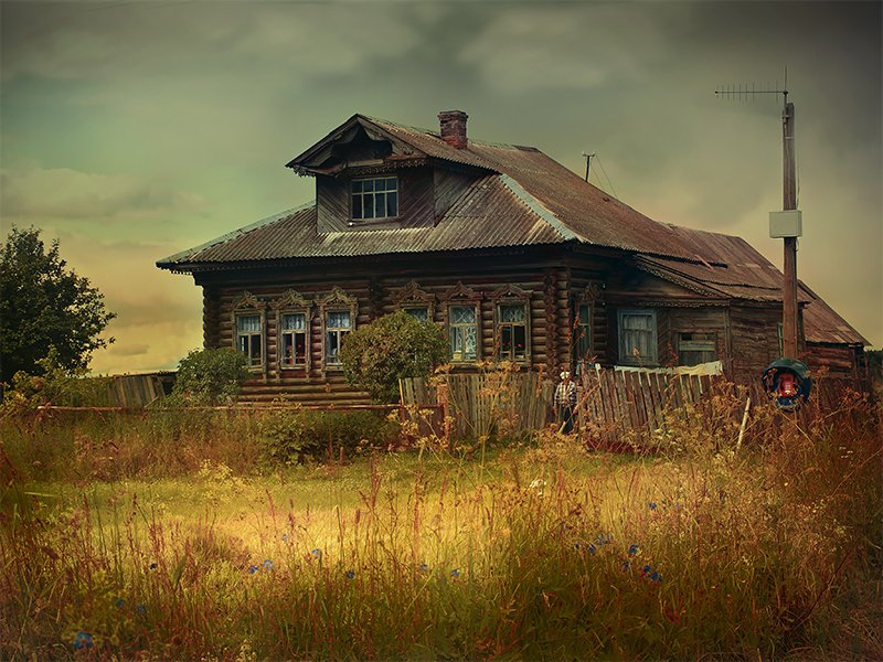 дом, деревня, лето, пейзаж Дом в деревнеphoto preview