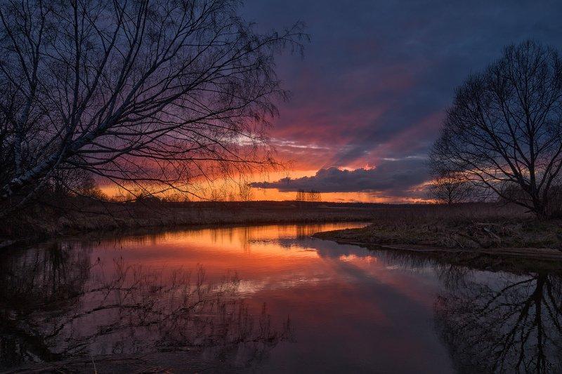 закат,подмосковье,весна,небо,сумерки,река,отражения,природа,московская область, Апрельские закаты на Вореphoto preview