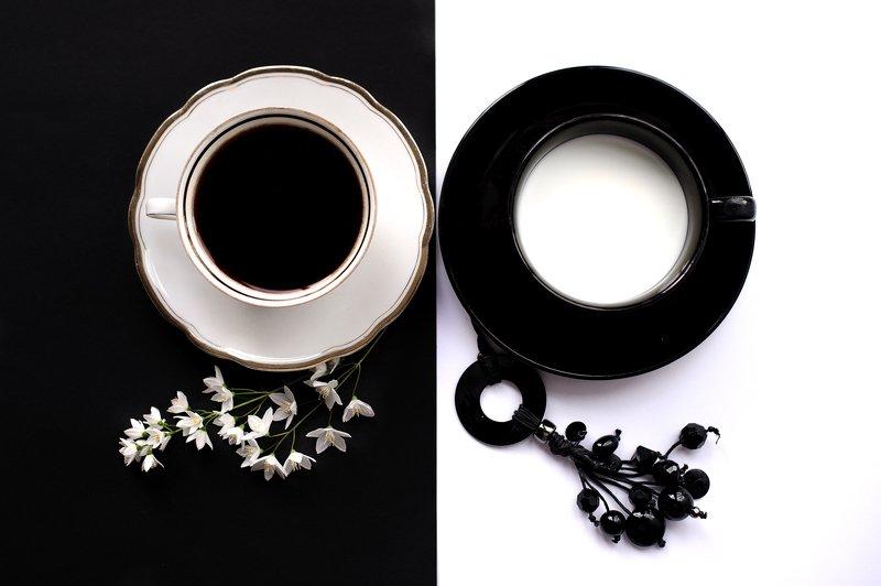milk, coffee, black, white, cup Black&Whitephoto preview
