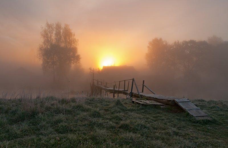 утро, свислочь, туман, мостик Ваньковский мостикphoto preview