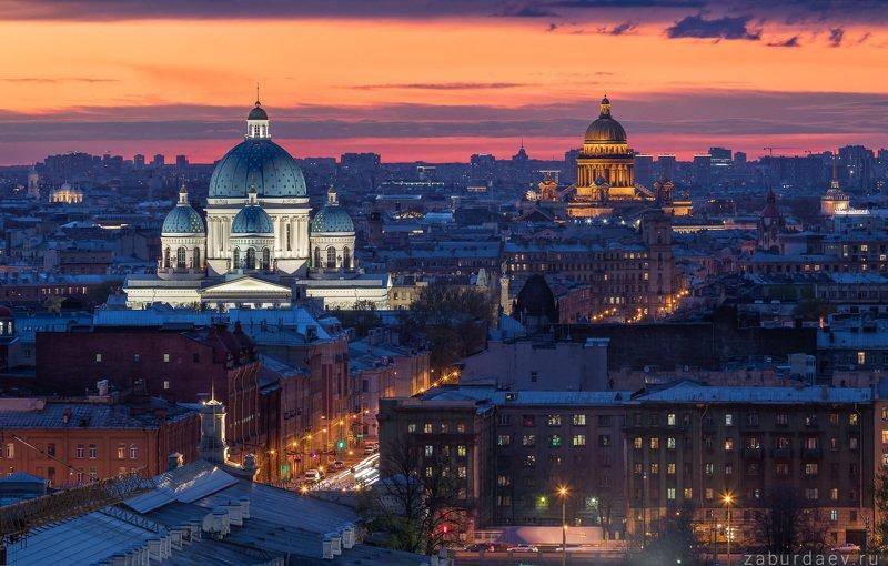 россия, петербург, санкт-петербург, город, вечер, весна, закат Троицкий и Исаакиевский собор фото превью