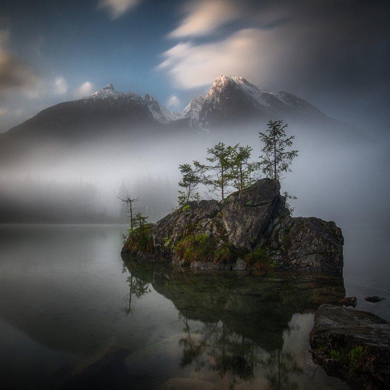 landscape,mountains,lake,morning,nature,fog,travel,earth,spring Bavarian Alpsphoto preview