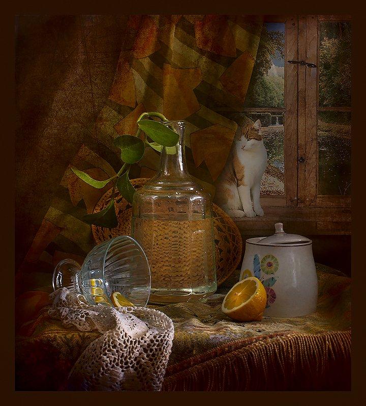 графин, окно, лимон, сахарница, кот С графином photo preview