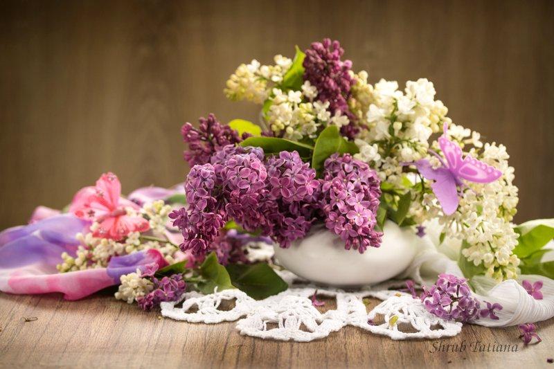 ваза, цветы, сирень, салфетка Аромат сирениphoto preview