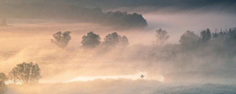 осень, туман, рыбак, рассвет. идиллияphoto preview
