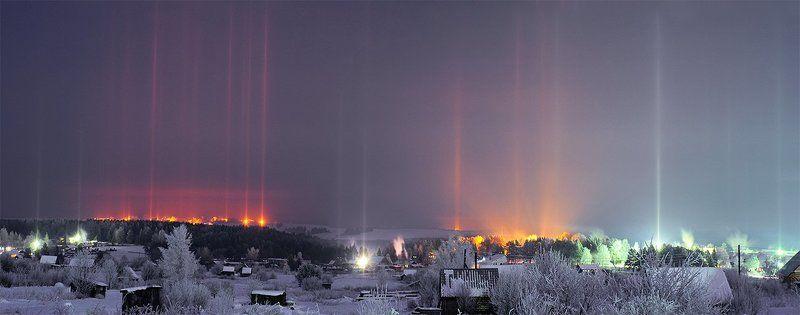 ночной  пейзаж,ледяные иглы,ночь,световые столбы,зима,мороз Про \