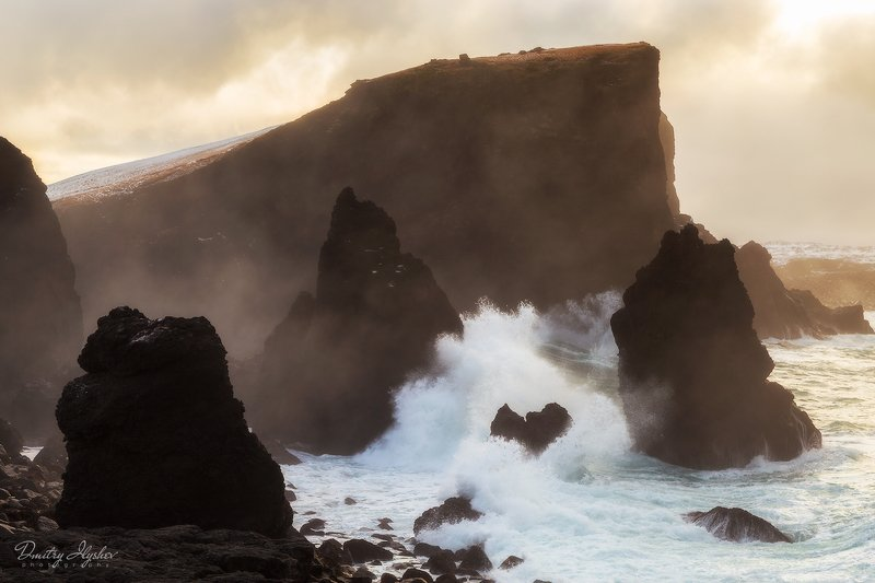 пейзаж, волны, исландия, рассвет, скалы, природа, февраль,  фототур илышев, Бушующий атлантическийphoto preview