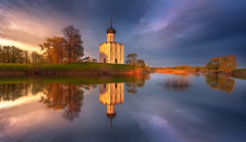 Россия, закат, Боголюбово, обработка, уроки Летний закат в Боголюбово...photo preview